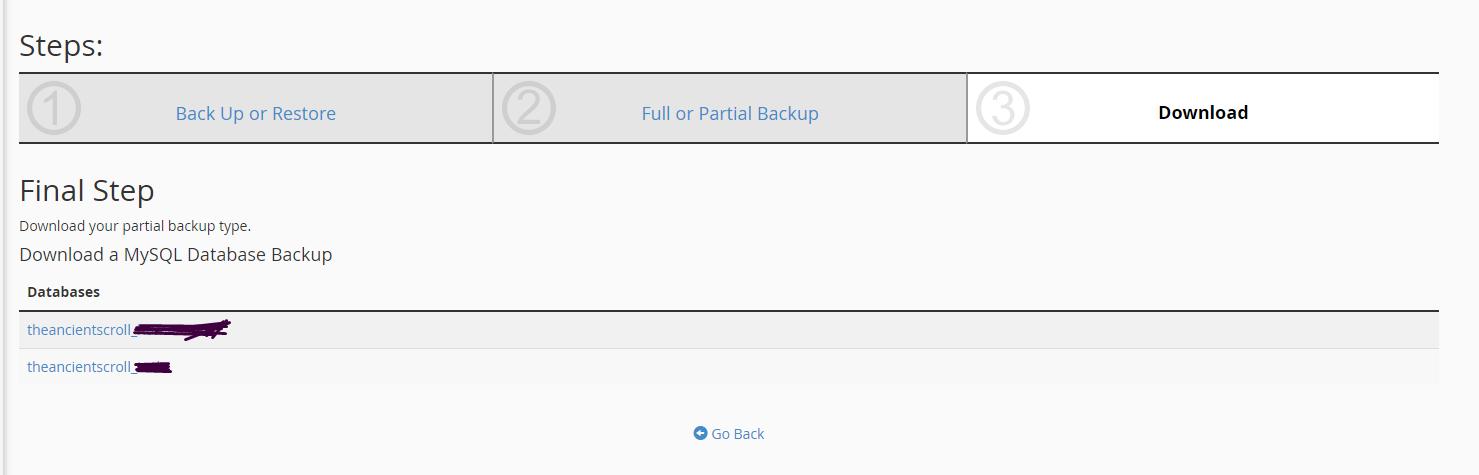 Backing up databases